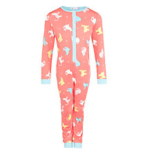 Buy John Lewis Girl Cats Onesie, Coral Online at johnlewis.com