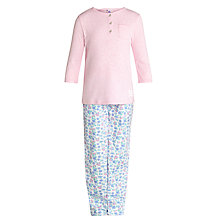 Buy John Lewis Girl Floral Button Pyjamas, Pink/Multi Online at johnlewis.com