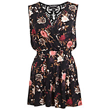 Buy Miss Selfridge Crochet Floral Playsuit, Multi Online at johnlewis.com