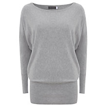 Buy Mint Velvet Zip Shoulder Batwing Knit Top, Grey Online at johnlewis.com