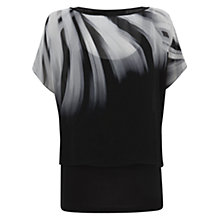 Buy Mint Velvet Double Layer Printed Top, Black/Grey Online at johnlewis.com