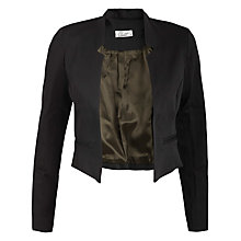 Buy Closet Satin Feel Cropped Notch Jacket, Black Online at johnlewis.com