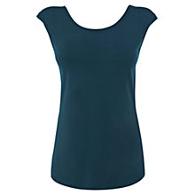 Buy Oasis Shoulder Pad Shell Top, Blue Online at johnlewis.com