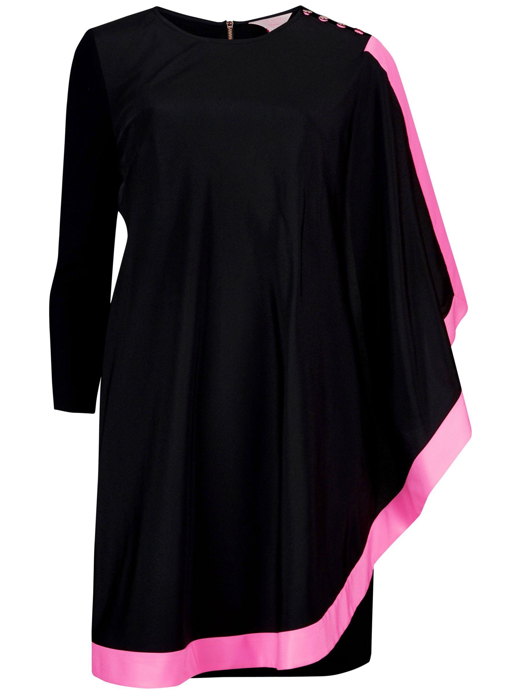 ted baker long sleeved one sided draped tunic dress bright pink, ted, baker, long, sleeved, sided, draped, tunic, dress, bright, pink, ted baker, 5|3|2|1|4|0, women, womens dresses, fashion magazine, womenswear, men, brands l-z, 1587299
