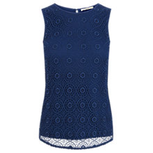Buy Oasis Geo Spot Lace Shell Top, Mid Blue Online at johnlewis.com