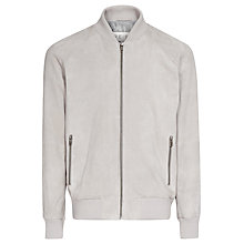 Buy Reiss Trill Suede Bomber Jacket, Flesh Online at johnlewis.com