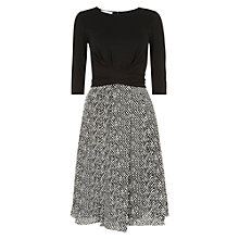 Buy Hobbs Tweed Print Dress, Black/Ivory Online at johnlewis.com