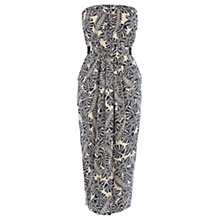 Buy Warehouse Leaf Print Bandeau Midi Dress, Multi Online at johnlewis.com