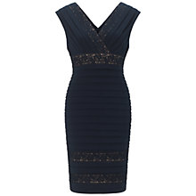 Buy Adrianna Papell Lace Insert V-Neck Dress, Eclipse Online at johnlewis.com