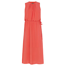 Buy Warehouse Pintuck Neck Midi Dress, Orange Online at johnlewis.com