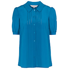 Buy French Connection Silk Short Sleeved Shirt, Celestial Blue Online at johnlewis.com