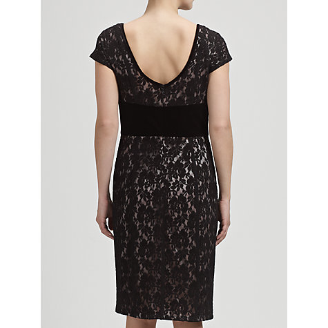 Buy Gina Bacconi Lace And Velvet Dress, Black Online at johnlewis.com