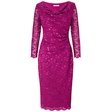 Buy Gina Bacconi Sequinned Lace Cowl Neck Dress, Magenta Online at johnlewis.com