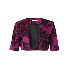 Buy Gina Bacconi Velvet Paisley Stretch Bolero Jacket, Magenta Online at johnlewis.com