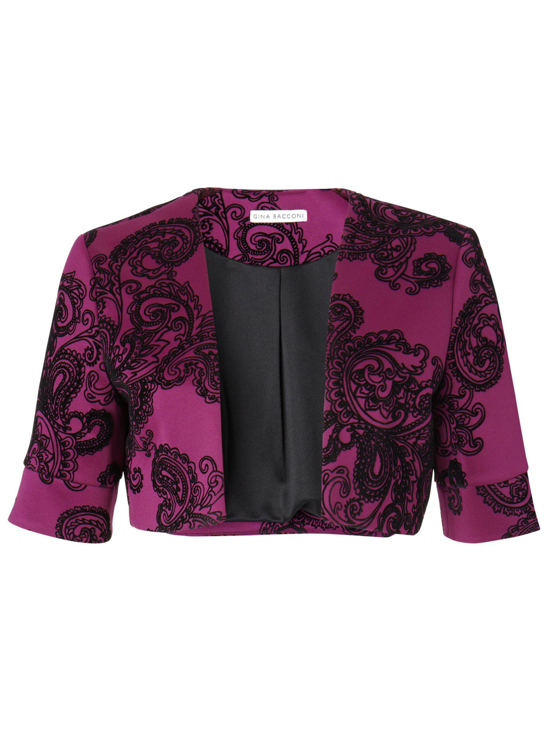 Gina Bacconi Velvet Paisley Stretch Bolero Jacket, Magenta