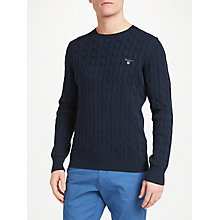Buy Gant Cable Knit Crew Neck Jumper, Evening Blue Online at johnlewis.com