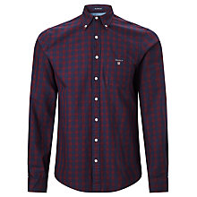 Buy Gant Front Desk Twill Check Shirt, Blood Online at johnlewis.com