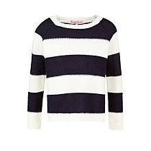 Buy John Lewis Girl Bloc Stripe Jumper, Navy/White Online at johnlewis.com