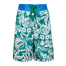 Buy John Lewis Boy Floral Print Board Shorts, Green Online at johnlewis.com