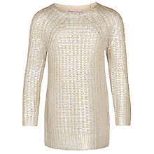 Buy John Lewis Girl Foil Print Jumper, Silver Online at johnlewis.com