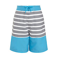 Buy John Lewis Boy Stripe Panel Board Shorts, Candy Blue Online at johnlewis.com