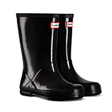 Buy Hunter Kids' First Gloss Wellington Boots, Black Online at johnlewis.com
