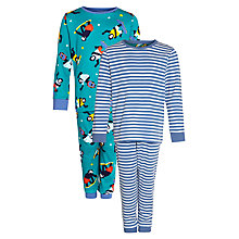 Buy John Lewis Boy Stripe & Gorilla Pyjamas, Pack of 2, Blue/White Online at johnlewis.com