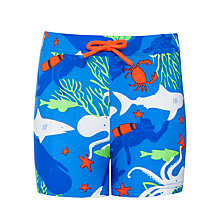 Buy John Lewis Boy Sea Creatures Swimming Trunks, Blue Online at johnlewis.com