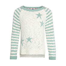 Buy John Lewis Girl Stars & Stripes Print Jumper, Turquoise Online at johnlewis.com