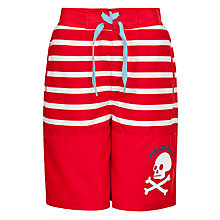Buy John Lewis Boy Stripe Skull Board Shorts, Red/White Online at johnlewis.com