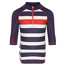 John Lewis Boy Stripe Half-Zip Rash Vest, Navy/Red, £15.00 - £17.00