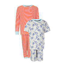 Buy John Lewis Boy Stripe & Bike Print Pyjamas, Pack of 2, Red/Grey Online at johnlewis.com