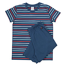 Buy Polarn. O. Pyret Children's Short Sleeve Striped Pyjamas, Blue Online at johnlewis.com