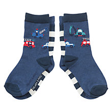 Buy Polarn O. Pyret Baby's Motor Socks, Pack of 2, Blue/White Online at johnlewis.com