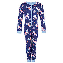 Buy John Lewis Girl Horse Print Onesie, Navy Online at johnlewis.com