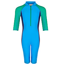 Buy John Lewis Boy Colour Block SunPro Suit, Pool Blue/Forest Green Online at johnlewis.com