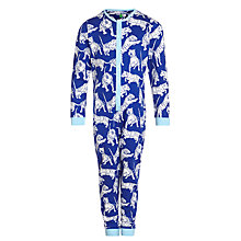 Buy John Lewis Boy Tiger Jersey Onesie, Blue/White Online at johnlewis.com