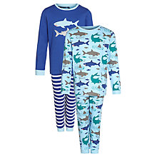 Buy John Lewis Boy Shark Jersey Pyjamas, Pack of 2, Blue Online at johnlewis.com
