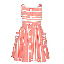 Buy John Lewis Girl Button Front Stripe Dress, Salmon Online at johnlewis.com