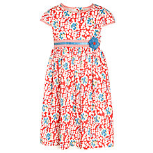 Buy John Lewis Girl Short Sleeve Floral Belt Dress, Poinsetta Online at johnlewis.com