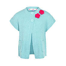 Buy John Lewis Girl Knitted Rose Cardigan, Blue Online at johnlewis.com