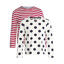 Buy John Lewis Girl Long Sleeve Jersey Tops, Pack of 2, Pink/Navy Online at johnlewis.com