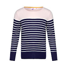 Buy John Lewis Girl Elbow Patch Stripe Jumper, Rose/Navy Online at johnlewis.com
