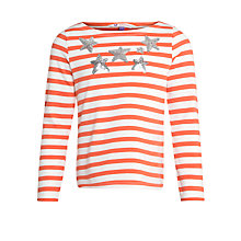 Buy John Lewis Girl Embellished Star Breton Long Sleeve T-Shirt, Coral Online at johnlewis.com