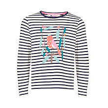 Buy John Lewis Girl Bird Applique Long Sleeve T-Shirt, Navy/White Online at johnlewis.com