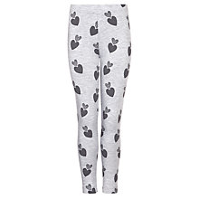 Buy John Lewis Girl Heart Print Marl Leggings, Grey Online at johnlewis.com