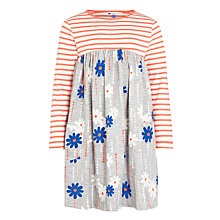 Buy John Lewis Girl Floral & Stripe Contrast Dress, Grey/Orange Online at johnlewis.com