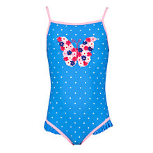 Buy John Lewis Girl Butterfly Appliqué Spot Swimsuit, Blue Online at johnlewis.com