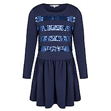 Buy John Lewis Girl Sequin Stripe Dress, Blue Online at johnlewis.com