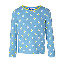 Buy John Lewis Girl Flower Print Long Sleeve T-Shirt, Blue Online at johnlewis.com